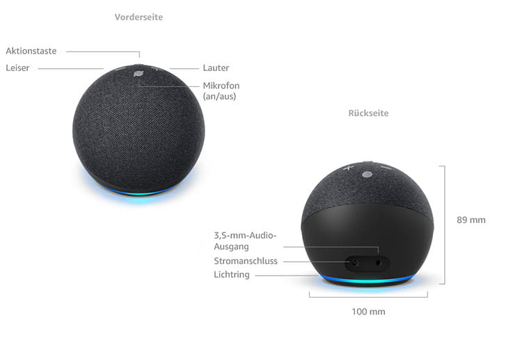 Amazon Echo Dot 4 ist kugelrund und der Alexa-Lichtring ist von oben nach unten gewandert