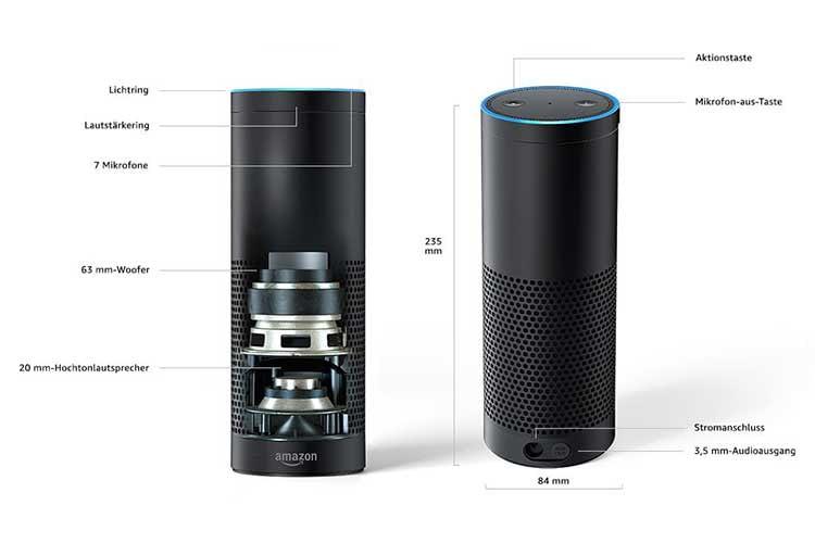Amazon Echo Plus (1. Generation) hatte als erster Echo Lautsprecher einen integrierten Zigbee Smart Home Hub (nicht imBild)