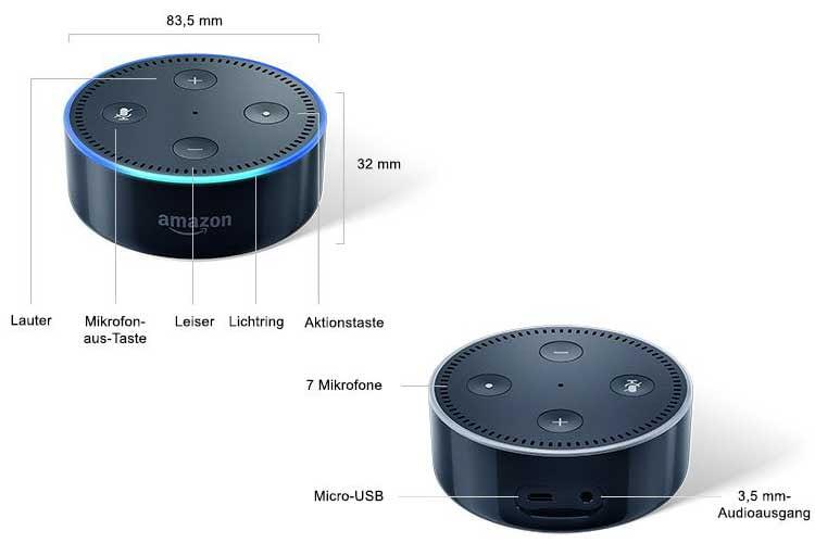 Amazon Echo Dot der zweiten Generation verfügte noch über ein Metallgehäuse und sieben Mikrofone
