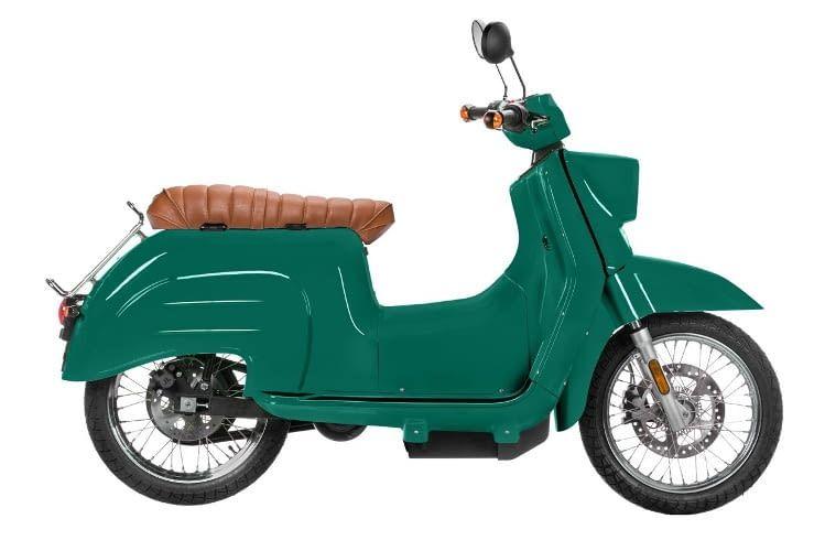 Die E-Schwalbe ist in kräftigen klassischen Farben lieferbar - so wie damals - der Hauptständer kostet Aufpreis.