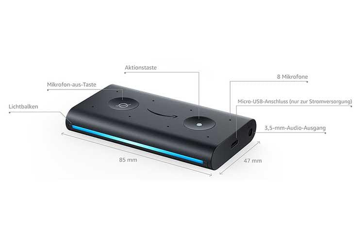 Amazon Echo Auto verfügt über 8 Mikrofone, um Sprachbefehle trotz vieler Umgebungsgeräusche gut zu verstehen