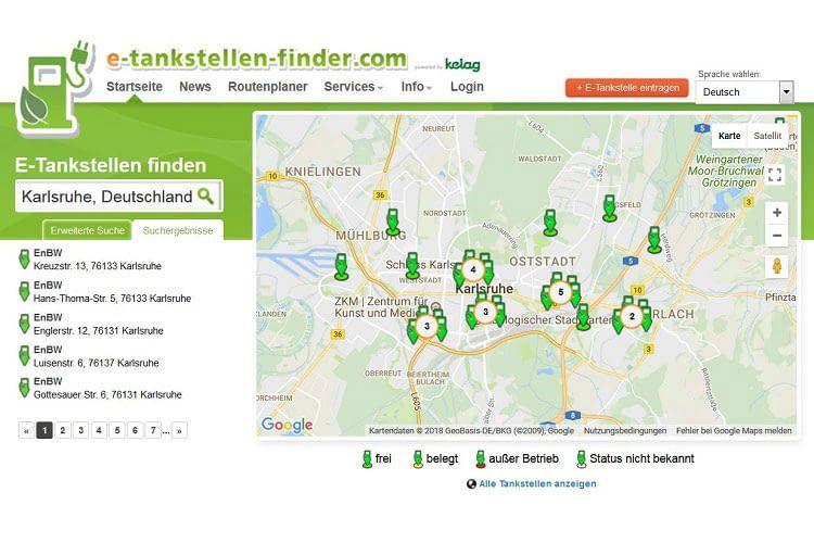 Bei der Ladesäulenkarte von e-tankstellen-finder.com muss der Nutzer sich nicht registrieren