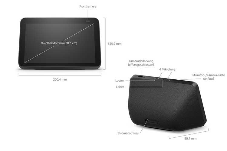 Amazon Echo Show 8 (2. Generation) vefügt über ein 8 Zoll Display sowie eine 13 MP-Kamera
