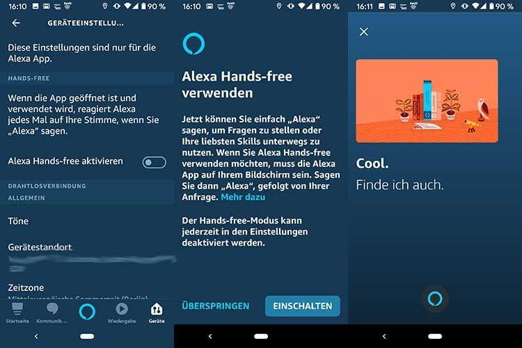 Alexa Hands-free ist auf dem Smartphone in der Alexa App schnell eingerichtet